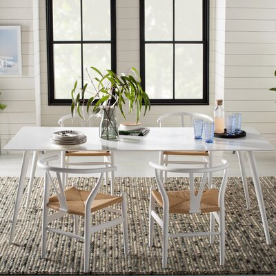 Airfoil Dining Table Base Finish: White, Top Finish: White