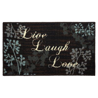 Textured Loop Live Laugh Love Kitchen Area Rug Rug Size: Rectangle 16 x 26