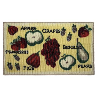 Textured Loop Tossed Fruits Kitchen Area Rug Rug Size: 16 x 26