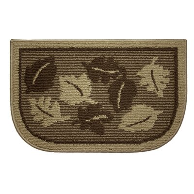 Textured Loop Livingston Leaves Wedge Slice Kitchen Area Rug