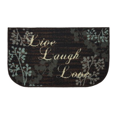 Textured Loop Live Laugh Love Kitchen Black/Brown Area Rug