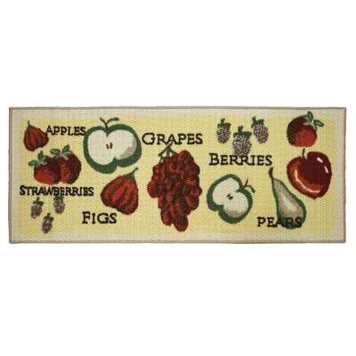 Textured Loop Tossed Fruits Kitchen Area Rug Rug Size: Rectangle 18 x 4