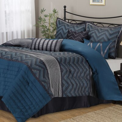 Chevron 7 Piece Comforter Set Size: Queen
