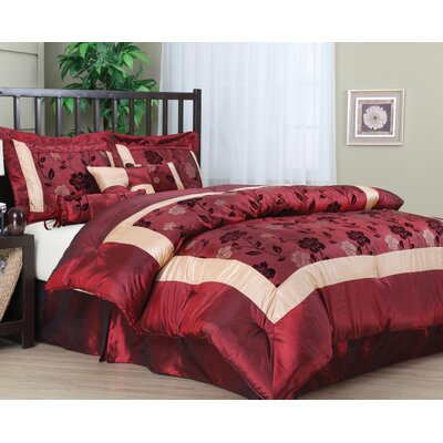 Angela 7 Piece Comforter Set Size: King