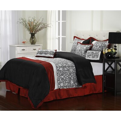 Aubrey 7 Piece Reversible Comforter Set Size: Queen