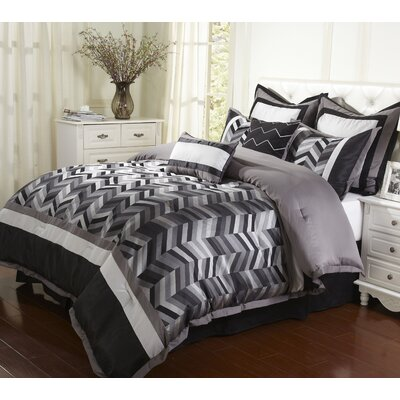 Alex 8 Piece Comforter Set Size: Queen