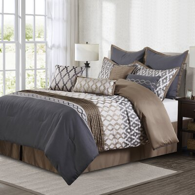 Caval 10 Piece Comforter Set Size: Queen