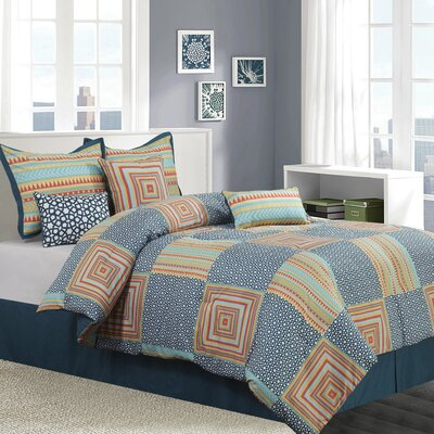 Amias 7 Piece Reversible Comforter Set Size: Queen