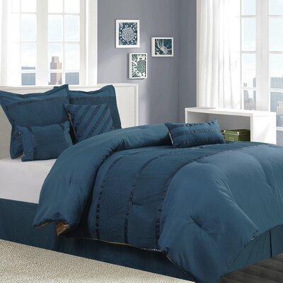 Amias 7 Piece Reversible Comforter Set Size: King