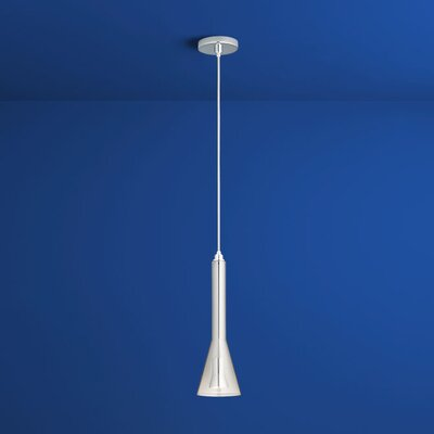 Liberty 1-Light Mini Pendant Finish: Polished Chrome, Shade Color: Smoke Ombre
