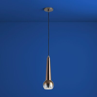 Comet 1-Light Mini Pendant Finish: Polished Chrome, Shade Color: Smoke Ombre