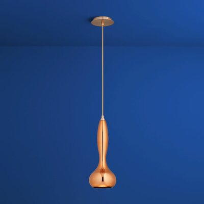 Pyrus 1-Light Mini Pendant Finish: Satin Copper, Shade Color: Copper Glass