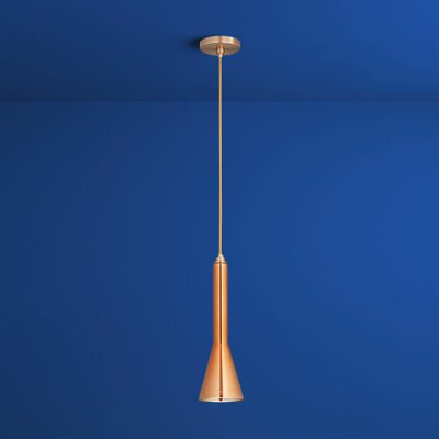Liberty 1-Light Mini Pendant Finish: Satin Copper, Shade Color: Copper Glass