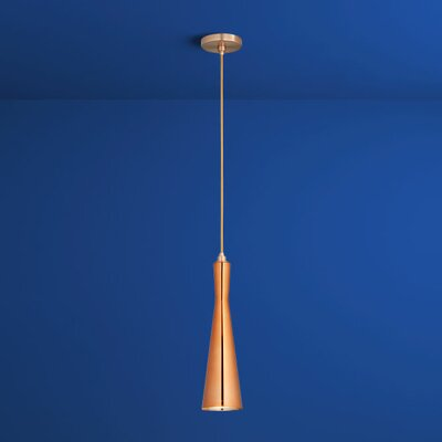 Corneta 1-Light Mini Pendant Finish: Satin Copper, Shade Color: Copper Glass