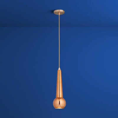 Comet 1-Light Mini Pendant Finish: Satin Copper, Shade Color: Copper Glass