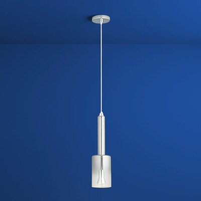 Spindle 1-Light Mini Pendant Finish: Polished Chrome, Shade Color: Smoke Ombre