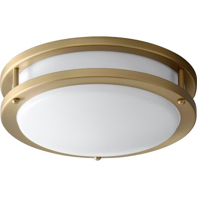 Oracle 1-Light Flush Mount Finish: Aged Brass, Size: 3.5 H x 10.5 W x 10.5 D