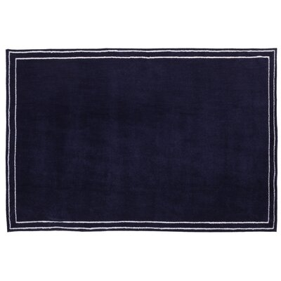 Plush Border Blue Area Rug