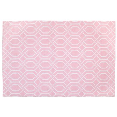 Plush Pink/White Area Rug
