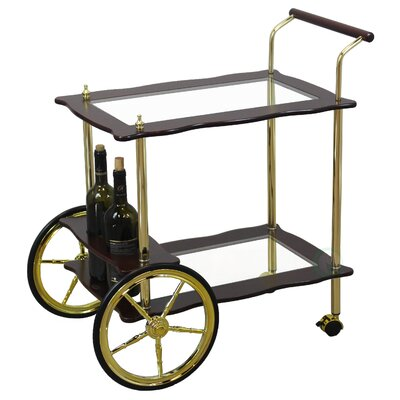 uniquewise uniqueware 2 tier clear tempered glass brasswood serving tea cart