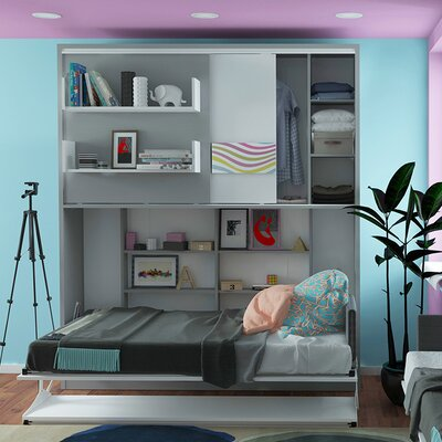 Geddes Twin Murphy Bed Color: Gloss White and Matte Silver