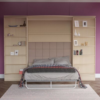 Genevieve Queen Storage Murphy Bed Color: Light Wood