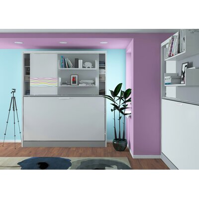 Gennep Parete Letto Wall Twin Murphy Bed Color: Gloss White and Mat Silver