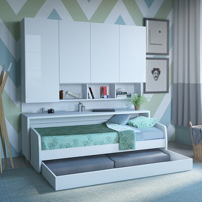 Compact Sofa and Cabinets Wall Twin Murphy Bed Finish: White