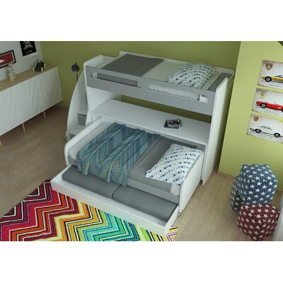 Gautreau Twin Futon Bunk Bed with Table and Trundle Color: Gloss White and Matt Silver