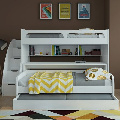 Bel Mondo Twin Bunk Bed with Trundle Finish: Gloss White