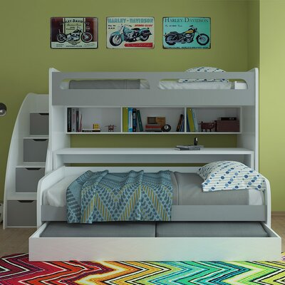 Bel Mondo Twin Bunk Bed with Trundle Finish: Gloss White and Matt Silver