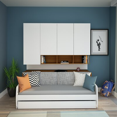 Gentry Compact Twin Sofa bed and Cabinets Wall System Color: Light Wood
