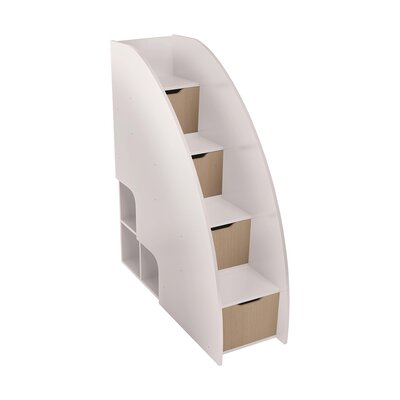 Bel Mondo Steps Bookcase Color: Gloss White and Light Wood