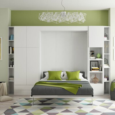 Queen Murphy Bed Finish: Gloss White