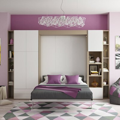 Queen Murphy Bed Finish: Gloss White and Light Wood