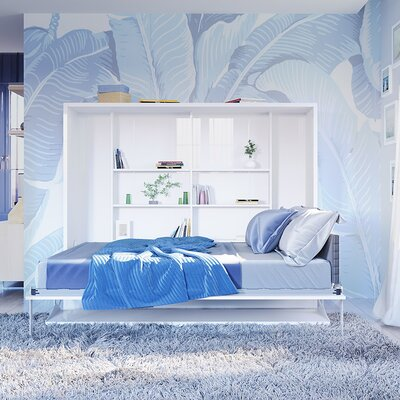 Hansell Full Murphy Bed with Mattress Color: Semi-Gloss White/Silver