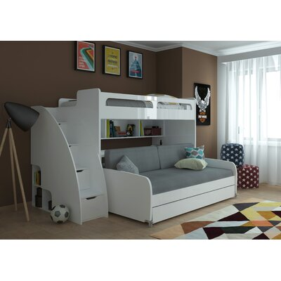 Bel Mondo Twin Bunk Bed with Trundle Finish: Semi-Gloss White and Light Wood, Accessory Color: Gray