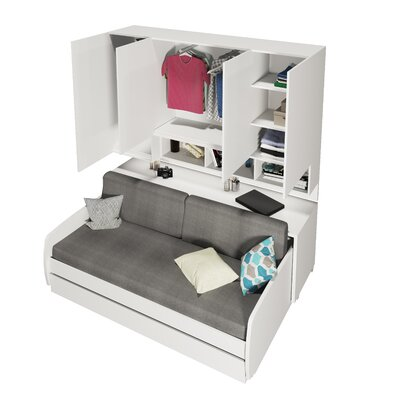 Compact Sofa and Cabinets Wall Twin Murphy Bed Accessory Color: Beige, Finish: Semi-Gloss White and Light Wood