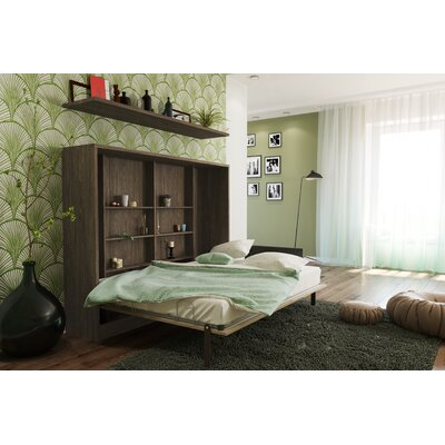 Hansell Full Murphy Bed with Mattress Color: High-Gloss Beige/DarkWood