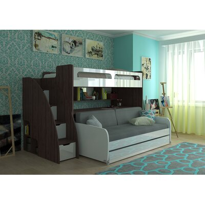 Gautreau Modern Twin Bunk Bed with Trundle Bed Frame Color: Dark Wood