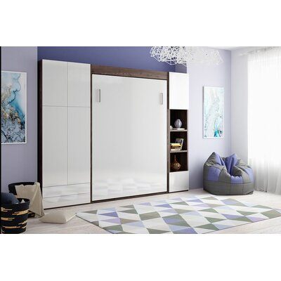 Gautreaux Queen Murphy Bed Color: Gloss White and Dark Wood