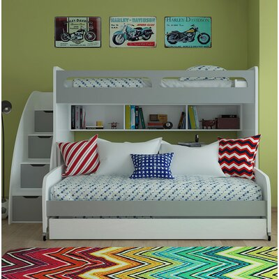 Gautreau Twin Bunk Bed over Full XL Sofa Bed, Table and Trundle Bed Frame Color: Mat Silver/White