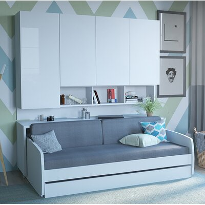 Rincon Compact Full/Double Storage Murphy Bed Color: White