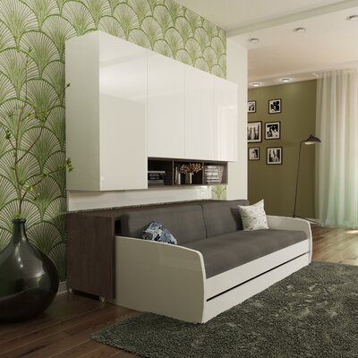 Gentry Compact Twin Sofa bed and Cabinets Wall System Color: Gloss White and Dark Wood
