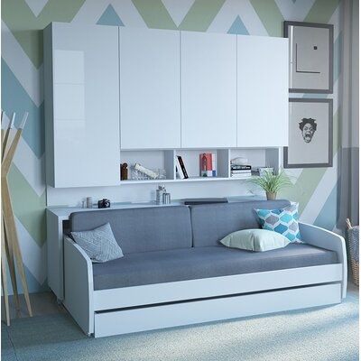 Gentry Compact Twin Sofa bed and Cabinets Wall System Color: White