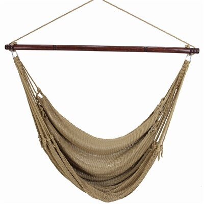 Jumbo Caribbean Polyester Chair Hammock Color: Tan