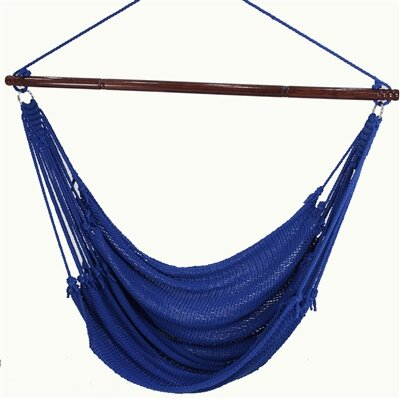 Jumbo Caribbean Polyester Chair Hammock Color: Dark Blue