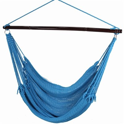 Jumbo Caribbean Polyester Chair Hammock Color: Light Blue