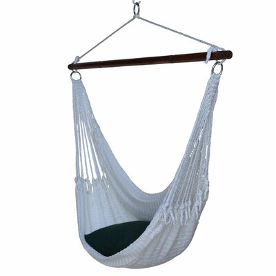 Jumbo Caribbean Polyester Chair Hammock Color: White