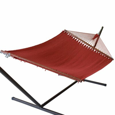 Jumbo Caribbean Polyester Tree Hammock Color: Red